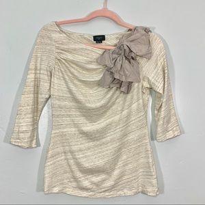 Deletta   Cream High Neck Embellished Shoulder Top